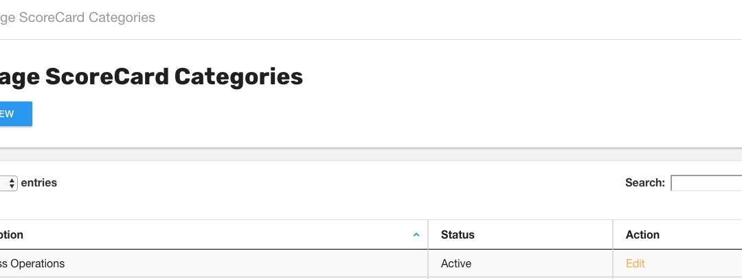 Create or Edit ScoreCard Categories