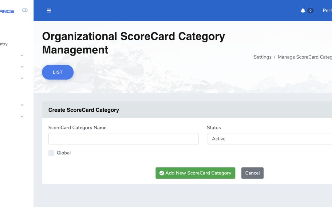 Manage ScoreCard Categories